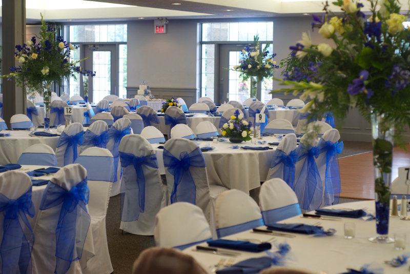 Wedding Reception Room with Flowers